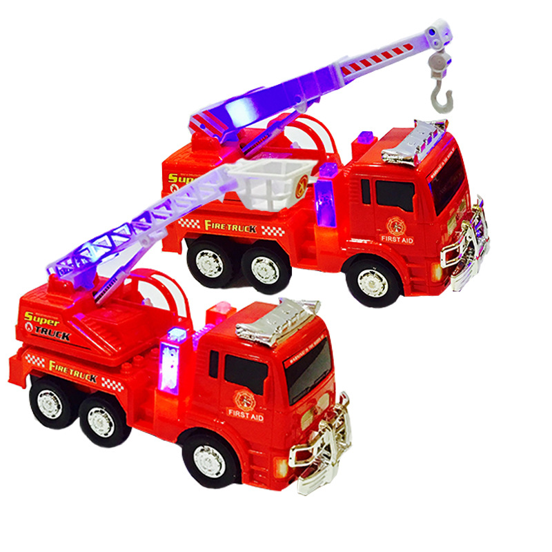 Hot Selling Electric CHILDREN'S Toy Aerial Ladder Fire Truck 3D Light Music Electric Model Firefighting Stall Supply Of Goods To