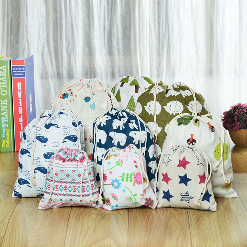Casual Women Cotton Drawstring Shopping Bag Eco Reusable Folding Grocery Cloth Underwear Pouch Case Home Storage Bags 1pcs