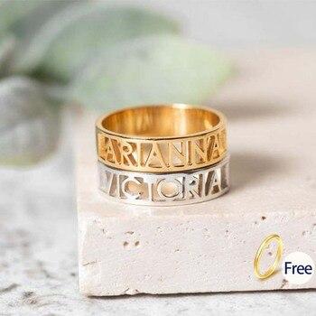 Letter Engraved Rings for Women Custom Ring Men Engagement Wedding Band Gold Hollow Stainless Steel Customized Gift Metal