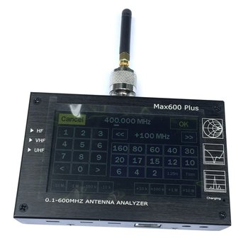 """Max600 Plus HF/VHF/UHF Antenna Analyzer 0.1-600MHZ Swr Meter 1.0-1999 5V/1.5A For Radio 4.3"""" TFT LCD Touch Screen"""