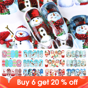 Image 1 - 12pcs Christmas Nail Stickers Water Decals Snowman Santa Clause Deer Nail Art New Year Slider Manicure Full Wraps Tool JIA/BN
