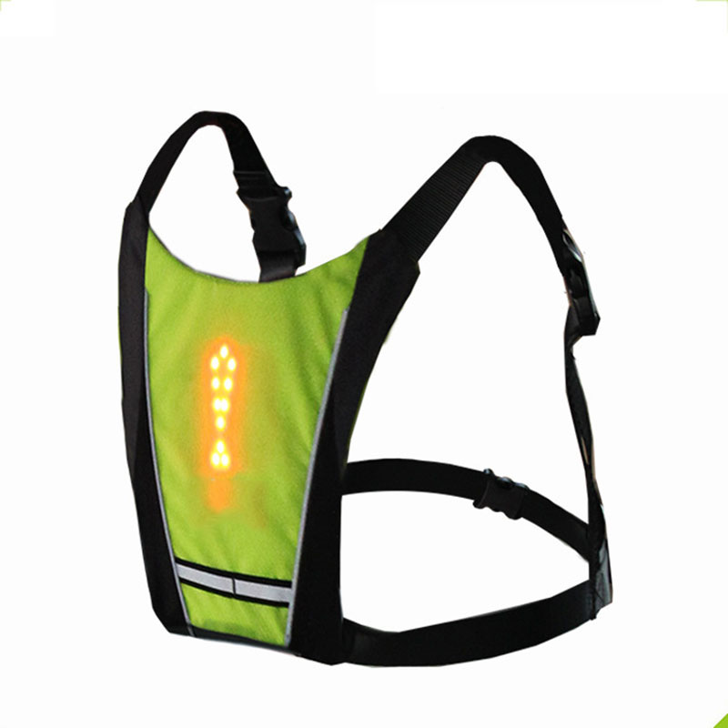 2.4G LED Wireless Cycling Vest Chargeable Bike Bag Safety LED Turn Signal Light Vest Bicycle Reflective Warning Vests With Remo