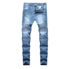 2019 New Fashion Jeans Hip Hop Moto Mens Designer Clothes New Fashion Distressed Ripped Skinny Denim Biker Jeans Dropshipping new brand designer knee ripped biker jeans men distressed moto denim joggers washed pleated leg yellow line decorate jeans pants