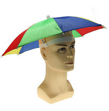Nueva cabeza de alta calidad uso Multi Color sombrilla gorra Playa Sol lluvia pesca Camping caza sol y lluvia paraguas novedades divertidas