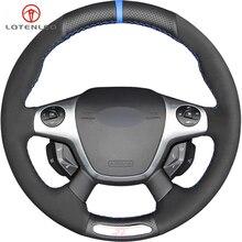 LQTENLEO черная замша из натуральной кожи DIY Ручная сшитая крышка рулевого колеса автомобиля для Ford Focus 3 ST 2012