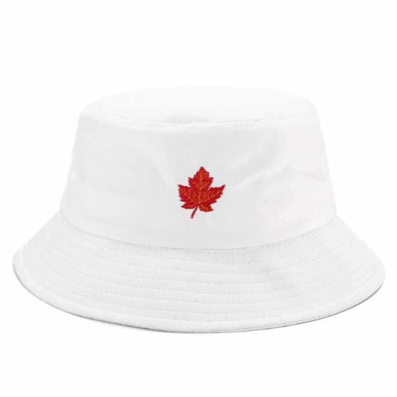 Sombrero de pescador bordado Hiphop de hoja de arce para deportes al aire libre Panamá vacaciones playa pesca gorra Bob verano sombrero de sol