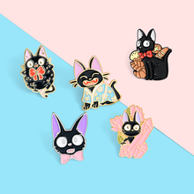 Hayao Miyazaki Anime Enamel Lapel Pins Black Cat Gigi Cartoon Brooches Badges Fashion Pin Gift for Friends Wholesale Jewelry cat disguised shark enamel lapel pins cat rice cartoon brooches badges fashion backpack pin gift for friends wholesale jewelry