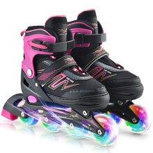 Patins inline patins de rolo ao ar livre ajustável patins iluminando rodas crianças tracer ajustável patines 4 rodas