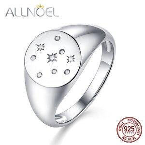 ALLNOEL, 100%, 925 пробы, серебряное кольцо для женщин, изготовлено вручную, циркон , бриллиант, драгоценный камень, печать, печать, золотые ювелирны...