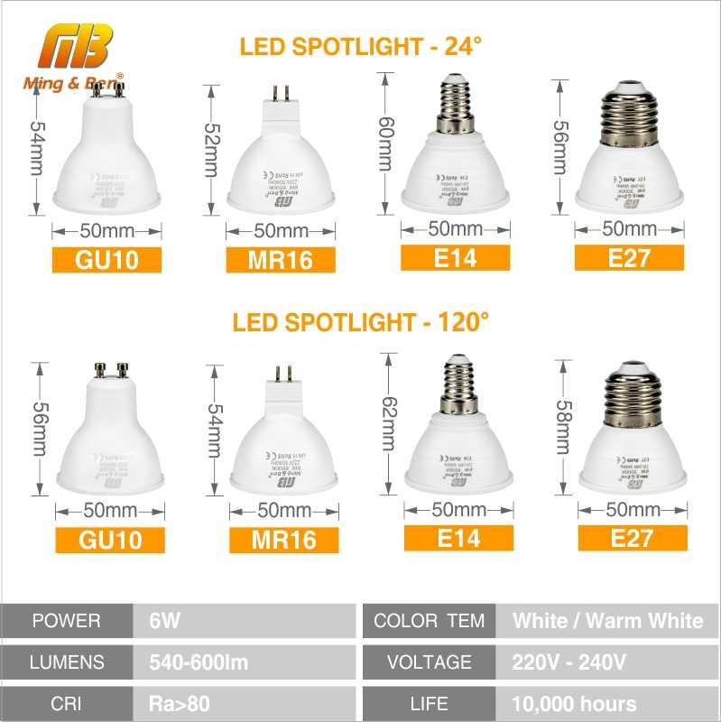 6PCS LED מנורת GU10 LED נורות E27 E14 24 120Degre MR16 220V חיסכון באנרגיה LED אורות הנורה עבור בית תאורת זרקור Lampara