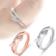 Nowe damskie eleganckie pierścionki Anillos Mujer kobiety moda małe świeże serce kształt regulowane pierścionki zaręczynowe ze stopu Party tanie tanio Brak Metal Ślub Napięcie ustawianie TRENDY Zespoły weselne Rings