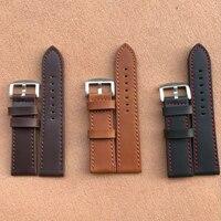 Neue 18mm 20mm 22mm 24mm Licht Braun Vintage Uhr Band Strap PU Leder Armband Edelstahl schließe Uhr Zubehör