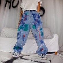 UNCLEDONJM Graffiti jeans for men letter denim pants Destroyed Stretch Slim Fit Hop Pants loose fit jean