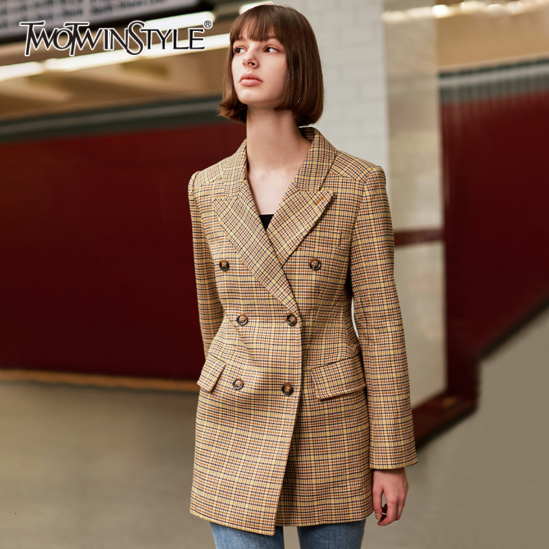 TWOTWINSTYLE Plaid Hit Color Women's Blazers Notched Long Sleeve High Waist Autumn Winter Suits For Female 2019 Fashion Clothing
