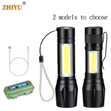 Zhiyu recarregável portátil led lanterna cob + xpe led tocha de acampamento à prova dwaterproof água zoomable foco luz lanterna tática