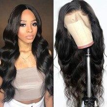 Frente do laço perucas de cabelo humano onda do corpo para preto feminino 13x4 peruca frontal do laço brasileiro tecer fechamento do laço peruca 4x4 peruca do laço