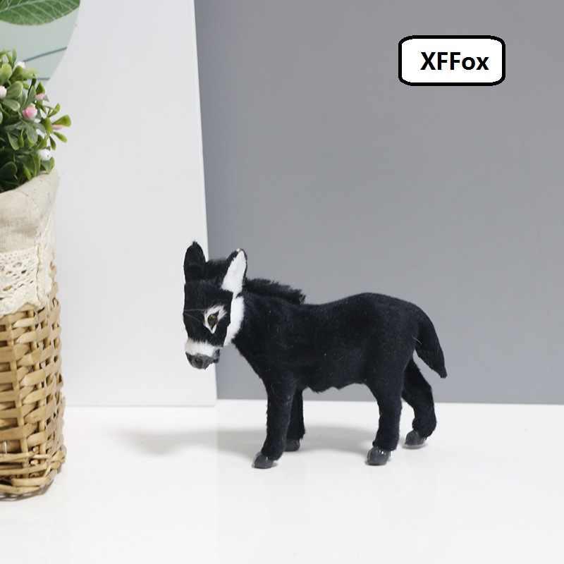 小さなシミュレーションロバモデルポリエチレン & 毛皮リアルライフブラックロバ人形ギフト約 12 センチメートル xf2644
