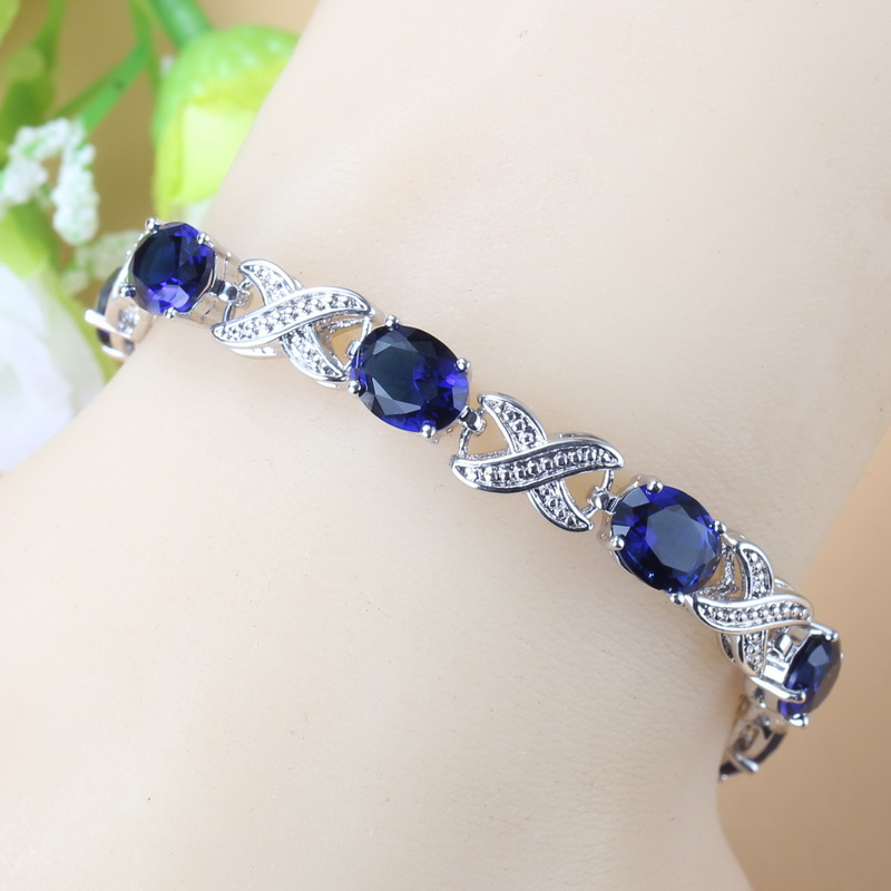 2019 New Trendy Bridal Wedding Jewelry Natural Blue Cubic Zirconia Adjustable Length Link Bracelet For Women Costume