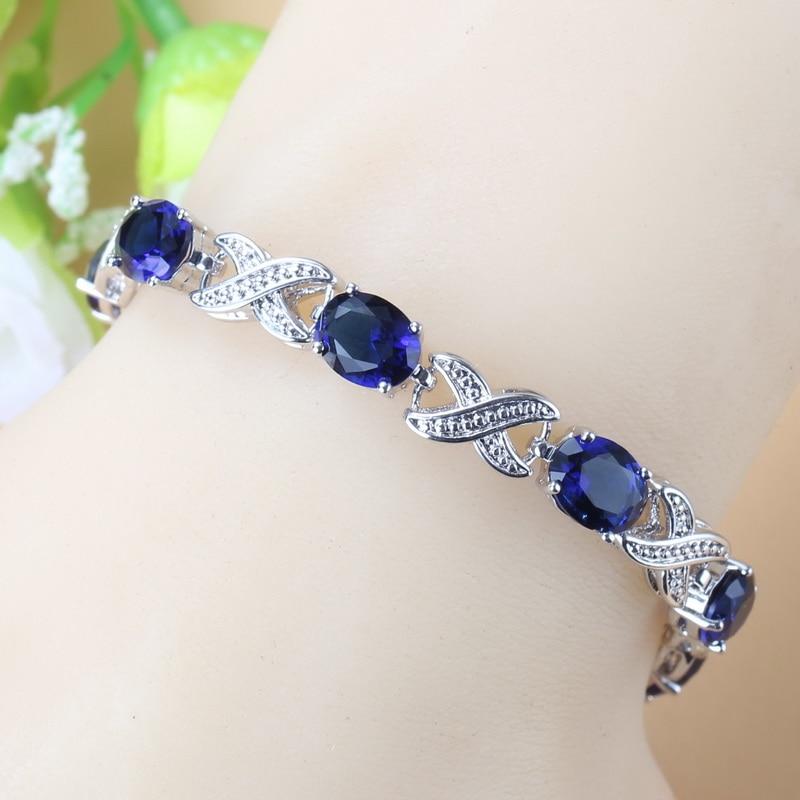 2019 New Trendy Bridal Wedding Jewelry Natural Blue Cubic Zirconia Adjustable Length Link Bracelet For Women Costume