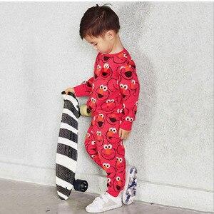 Image 5 - Autumn Winter Cartoon Elmo Printed Cotton Sets Baby Boys Clothing Sets Boys Girls Outfit Long Sleeve Shirt Pant