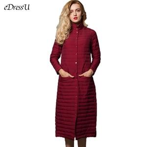 Image 2 - Long Down Jacket Women Long Jacket Grey Outwear Ultra light Down Coat Stand Collar Autumn Winter Jacket Casual Warm Coat YD 13
