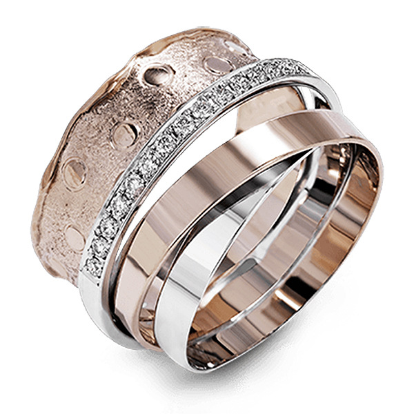 Women Fashion Jewelry Multilayer Surrounding Rose Gold Rings for Female CZ Inlay Unique Design Wedding Finger Ring Jewelry