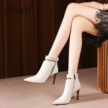 Winter Boots Black Leather Ankle for Women Zipper High Heel Shoes 8.5cm