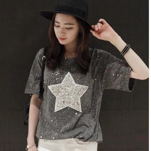 Korean-style WOMEN'S Wear Plus-sized Five-pointed Star Pattern Short Sleeve Loose-Fit T-shirt 200 Sequin Base Shirt