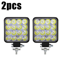 2pcs MINI 48W 16LED Work Light Flood Beam Bar Car SUV Off-Road Driving Fog Lamps 1000LM 9-32V DC 6000K