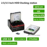 2.5/3.5 USB 3.0 to 2 SATA Ports 1 IDE Port External HDD Hard Drive Disk Docking Station Card Reader USB3.0 Hub with OTB/OTC
