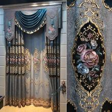 FYFUYOUFY European style flocked Bronzing jacquard curtain sitting room Bedroom wedding decoration Retro court Decorative fabric