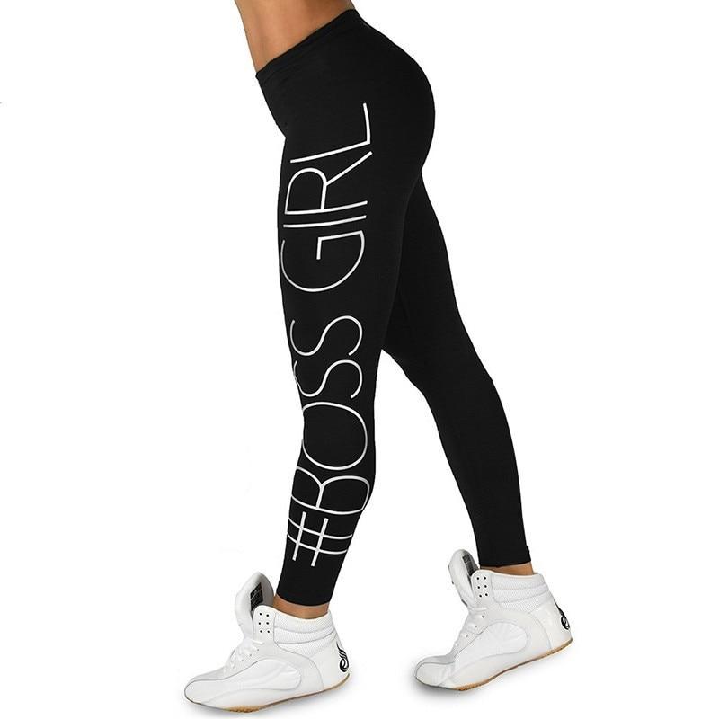 Ogilvy Mather Women Black Trousers Boss Girl Print Leggings Fashion High-Waist Fitness Leggings Casual Breathable Plus Size Soft