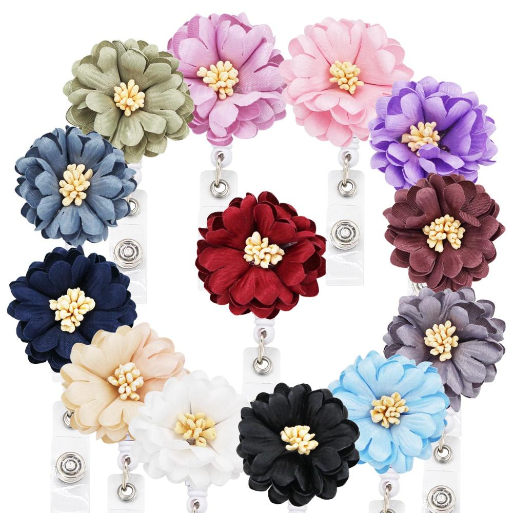 Idclip 13 Colors Daisy Retractable Badge Holder With Alligator Clip ID Badge Reel Clip On Card Holders