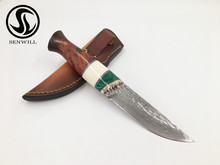 senwill Hunting VG10 Damascus steel Fixed Blade Tactical Knife Rosewood Handle Outdoor Knives with Leather Sheath