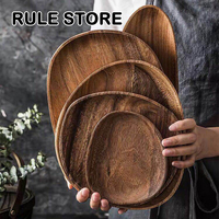 Whole Wood lovesickness Wood Irregular Oval Solid Wood Pan Plate Fruit Dishes Saucer Tea Tray Dessert Dinner Plate Tableware Set|Dishes & Plates| |  -