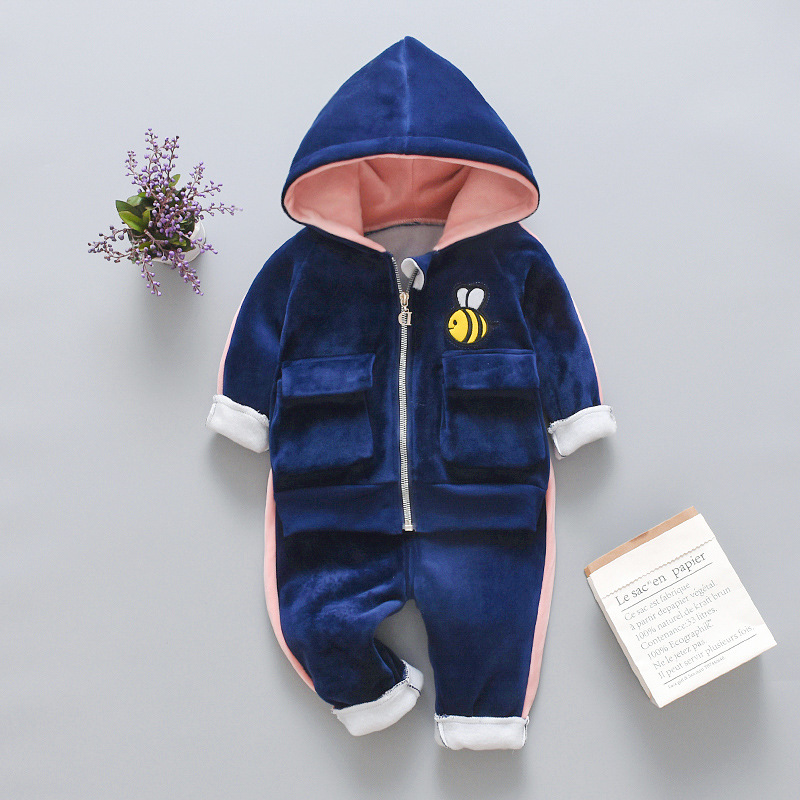 Winter Baby Boys Clothing Sets 2021 Cartoon Toddler Boys Girls Warm Hooded Coats Pants Suit Kids Thick Tracksuit Clothes Set 4