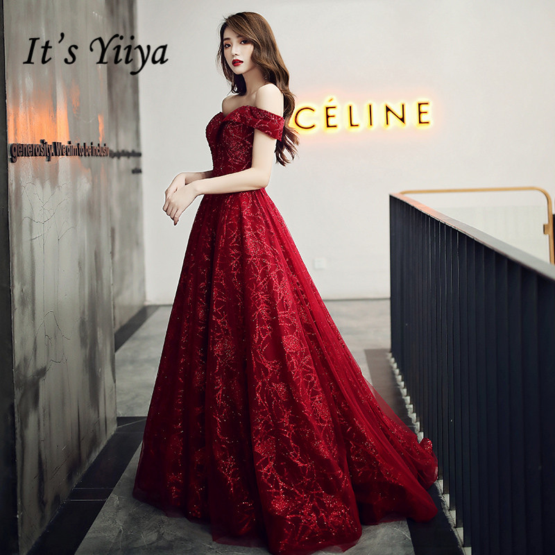 It's Yiiya Evening Dresses Off Shoulder Burgundy Evening Dress Elegant Shining Long Formal Gowns Plus Size Robe De Soiree LF117
