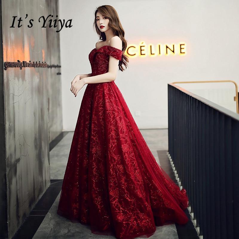 It's Yiiya Evening Dresses Off Shoulder Burgundy Evening Dress Elegant Shining Long Formal Gowns Plus Size Robe De Soiree LF117