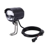 E-fahrrad licht scheinwerfer 85 lux eingang DC 36V 48V 60V ebike lampe installieren lenker LED elektrische fahrrad licht mit horn