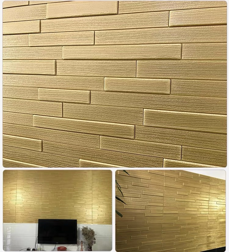 Modern 3D Embossed Bright Gold Brick Wallpaper Wedding Living Room Dining Room Fashion Backdrop Wallpaper Home Decor Stickers