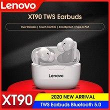 Lenovo xt90 tws fones de ouvido bluetooth 5.0 verdadeira sem fio toque controle sweatproof esporte fone com microfone caso carregamento