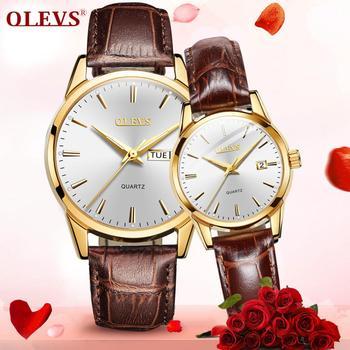 Reloj de cuero para amantes, relojes de lujo para parejas, par de relojes luminosos de cuarzo de la mejor marca para hombres y mujeres, relojes de pulsera Reloj pareja