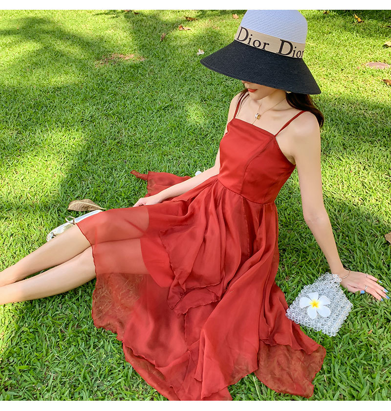 Bali Beach Skirt Red Retro Romantic Holiday Skirt Sweet Fairy Camisole Dress New Style