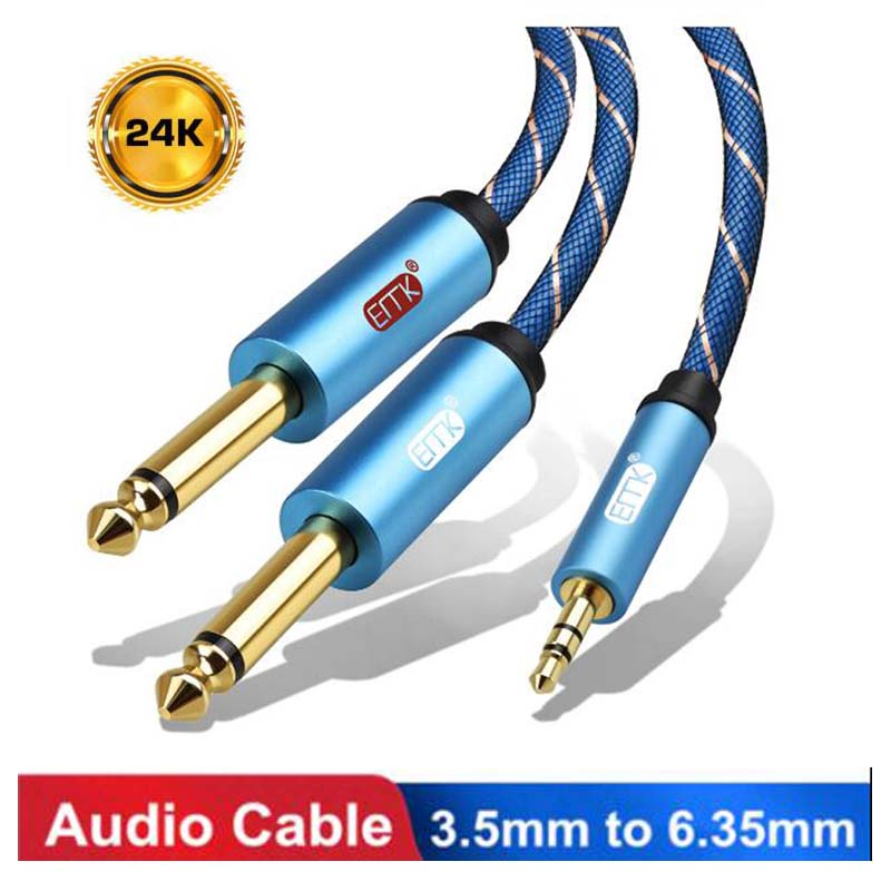 3.5mm <font><b>to</b></font> 2 6.35mm Audio <font><b>Cable</b></font> Stereo Aux Wire <font><b>3.5</b></font> Male <font><b>to</b></font> Male 6.35 <font><b>6.3</b></font>,6.5 Audio Cord 1m For Amplifier Speaker Microphone MP3 image
