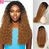 Dreamdiana perucas de cabelo brasileiro remy ombre encaracolado peruca do laço 4 × 4 fechamento do laço encaracolado perucas de cabelo humano água loira 100% perucas de cabelo humano