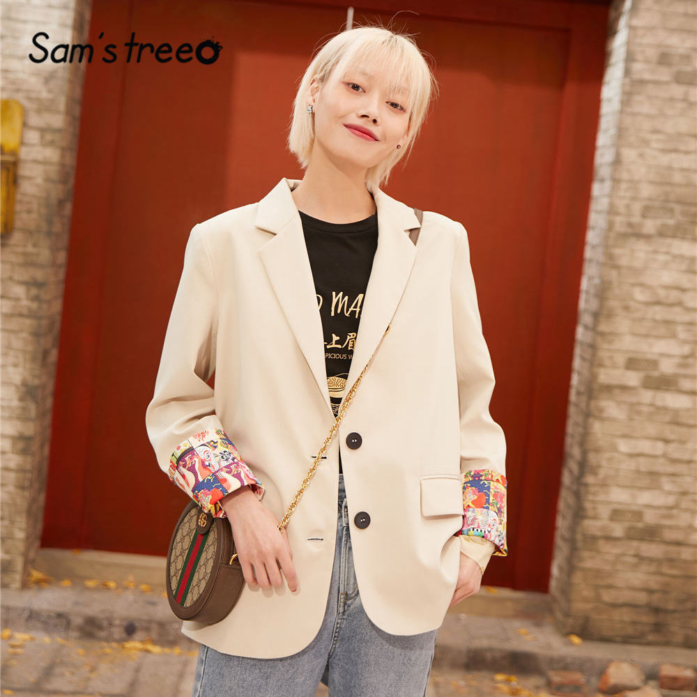 SAM'S TREE White Solid Double Button Korean Style Women Blazers 2020 Spring Graphic Print Sleeve Loose Casual Ladies Daily Coats