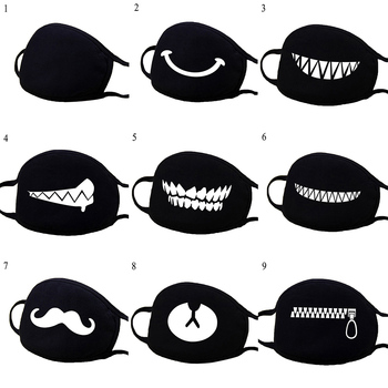 Men Women Driving Windproof Mask Cartoon Black Cotton Face Masks Reusable Washable Mouth Mask Cover Breathable Unisex Hot Sale image