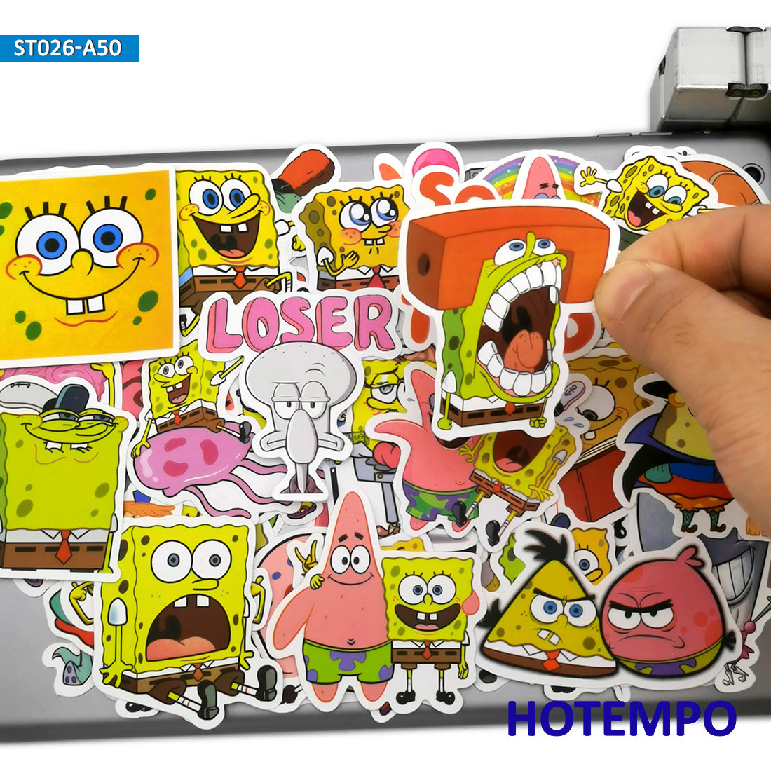 50pcs Cute Yellow Sponge SquarePants Fun TV Cartoon Stickers Toys For Mobile Phone Laptop Luggage Skateboard Anime Decal Sticker