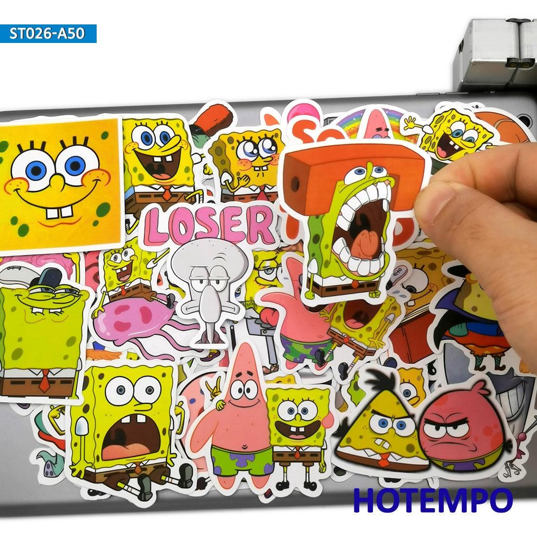 50pcs Cute Yellow Sponge SquarePants Fun TV Cartoon Stickers Toys For Mobile Phone Laptop Luggage Skateboard Anime Decal Sticker