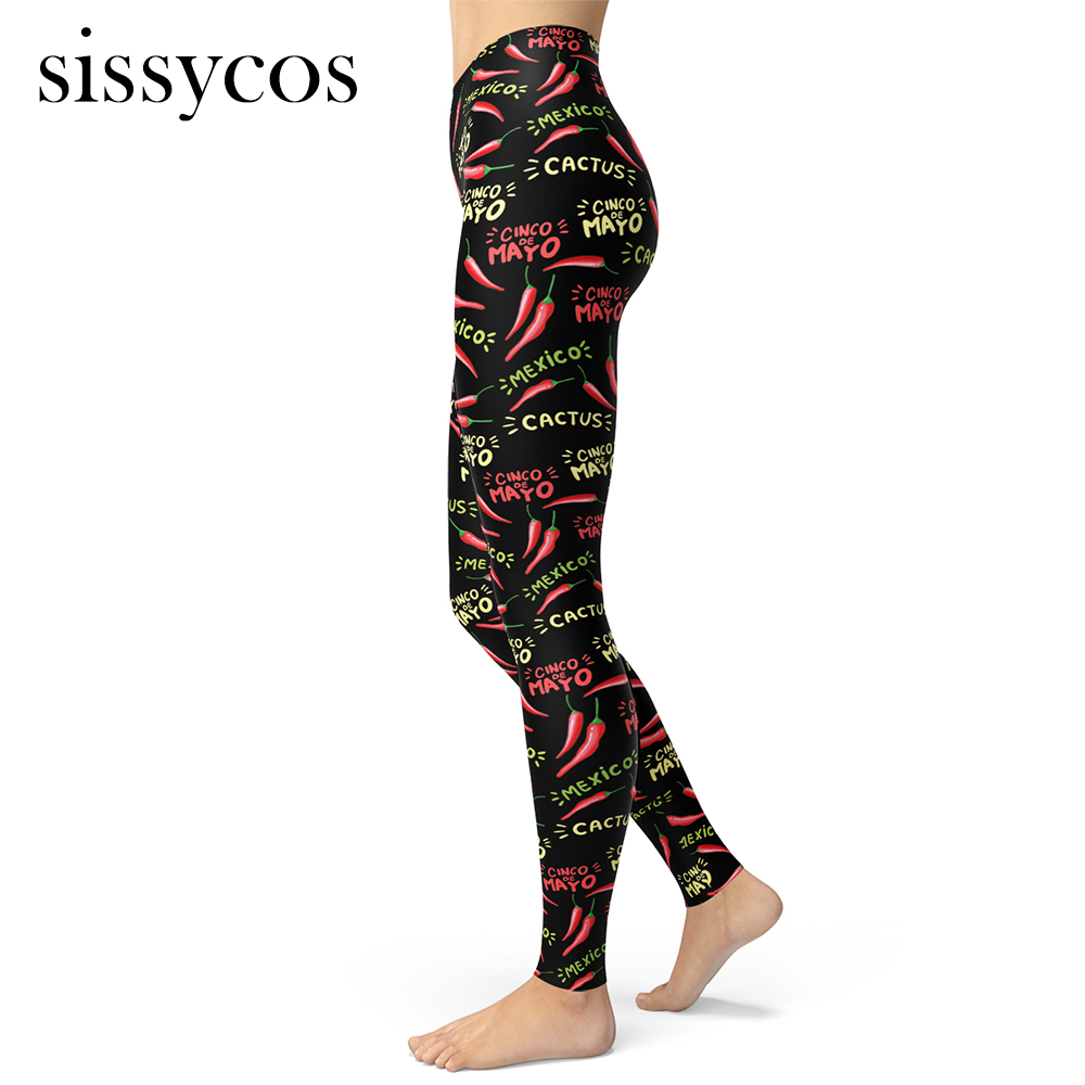 Women Spicy Chili Costume Peppers Printed Leggings Hot Girls Mexico Personality Fashion Streetwear Brushed Buttery Soft Trousers